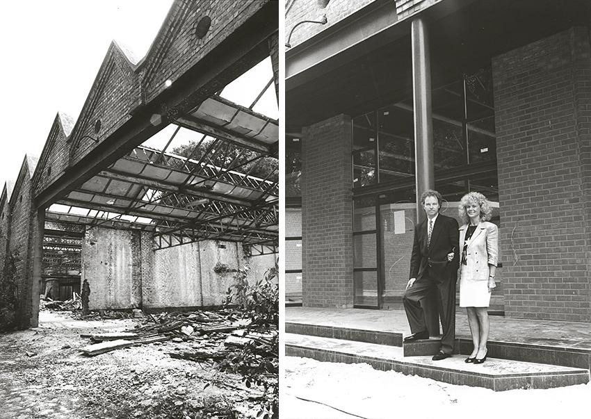 De inkom van de huidige showroom te Kortrijk, voor en na renovatie.